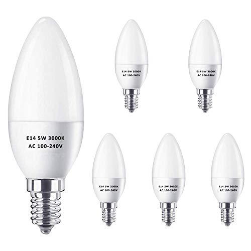 E14 LED Kerze Glühbirnen 5W Gleichwertig 40W Halogen Glühbirnen, Warmweiß 3000K, 420LM, C37 SES Klein Edison Schraube LED Licht Lampen, kein Flimmern, nicht dimmbar, AC 100-240V, 6er Pack