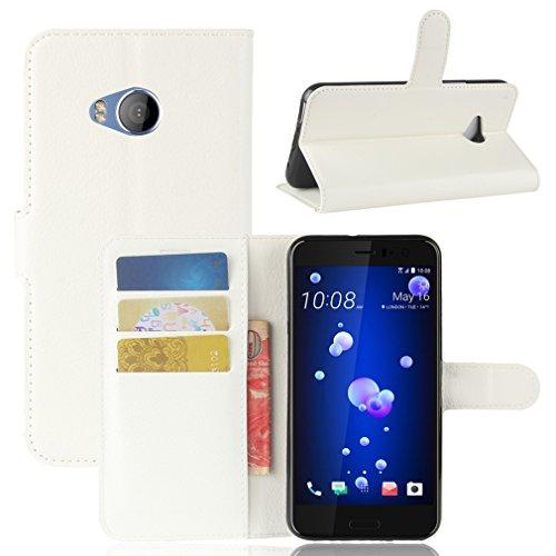 LMAZWUFULM Hülle für HTC U11 Life PU Leder Magnetverschluss Brieftasche Lederhülle Litschi Muster Standfunktion Ledertasche Flip Cover für HTC U11 Life Weiß