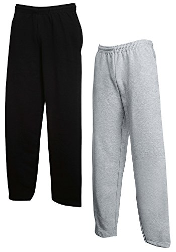 2er Set FRUIT OF THE LOOM Jogginghose S-M-L-XL-XXL Herren Jogpants XL,1x Schwarz + 1x Grau