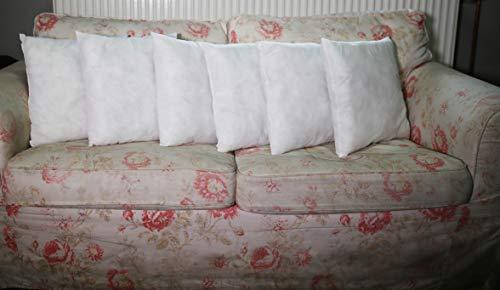 Warez Bedding - Cojines de relleno (blanco, lote de 6) cojines interiores – Funda de Frizelina (40 x 40 cm)