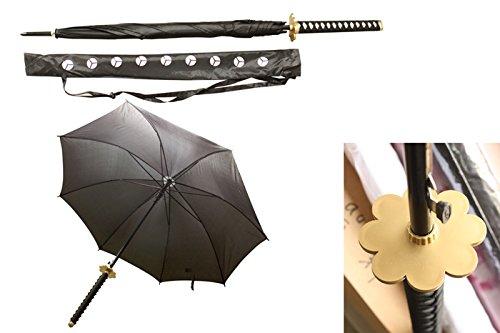 S2724 Anime ONE Piece Roronoa Zoro SHUSUI Black Samurai Sword Umbrella with Bag 39.5'