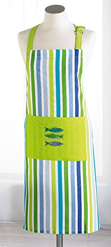 le jardin des cigales tablier + poche 70x85cm coton sardinades vert