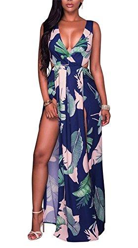 Lkous Sexy Sleeveless V-neck Split Long Beach Dress Floral Print Bodycon Maxi Dress,Large,Navy Blue
