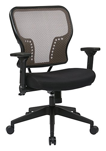 SPACE Seating AirGrid Back and Padded Mesh Seat, 2-to-1 Synchro Tilt Control, 4-Way Adjustable Flip Arms and Tilt Tension with Nylon Base Managers Chair, Latte