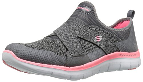 Skechers Sport Women's Flex Appeal 2.0 New Image Fashion Sneaker,Charcoal/Coral,7.5 M US