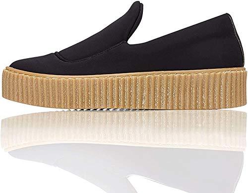 find. Plateau Schuhe Damen Slipper mit gerippter Sohle und dekorativer Naht, Schwarz (Black), 40 EU
