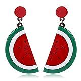 Ogquaton Creativa Fruta Flor Stud Pendientes Sandía Fresa Limón Cereza Resina Pendientes de Gota Mujeres Charm...