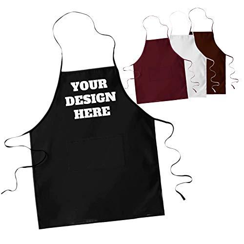LaMAGLIERIA Schürze Bedrucken - Kochschürze, Grillschürze personalisiert mit Fotos und Text deiner Wahl, Schwarz