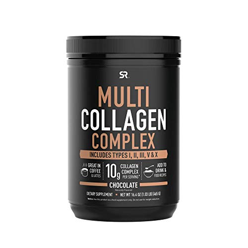 Multi Collagen Peptides Powder with 5 Types of Food sourced Collagen | Great in Coffee, Shakes or Almond/Rice Milk | Non-GMO Verified & Gluten Free - Chocolate (16.4oz)