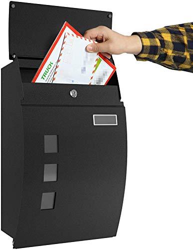 Cassetta Postale con Scomparto per Giornali, Targhetta e Finestra di Visualizzazione - Cassetta delle Lettere Impermeabile & Chiudibile a Chiave, 2 Chiavi