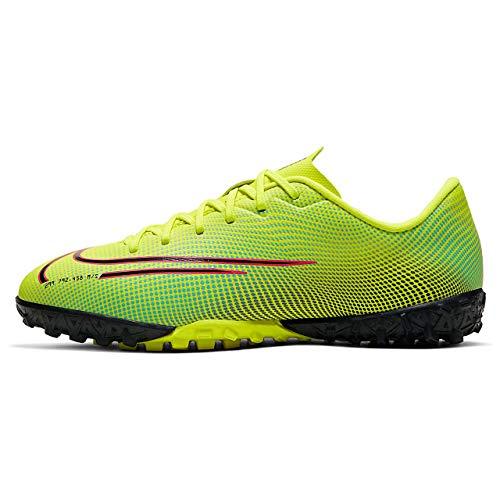 Nike Vapor 13 Academy MDS TF, Zapatillas de Futsal, Lemon Venom Black Aurora-Botas de esquí, Color Verde y Negro, 35.5 EU
