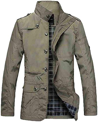 Men Plus Size Stand Collar Button Down Long Sleeve Jacket Coat