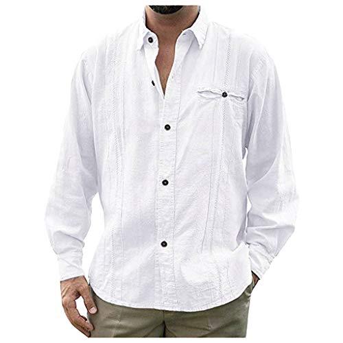 acction Camisa Cuello Vuelto Hombre, Manga Larga, Flojo Botón, Camisa Elástica Casual/Formal para Hombre