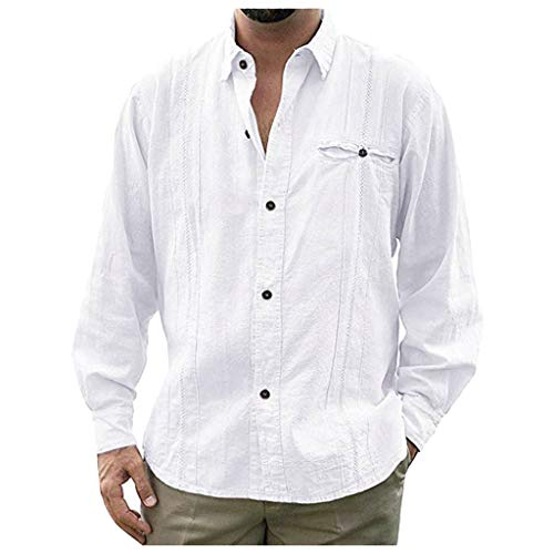 DNOQN Running Shirt Herren T Shirt Lange ärmel Mode Herren Beiläufig Umlegekragen Knopf Solide Beach Langarm Top Bluse XXL