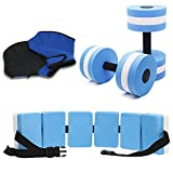 UNAOIWN 5 Piece Aquatic Fitness Set for Water Aerobics, Pool Exercise Equipment Foam Water Dumbbell, Aquatic Swim Belt,Resistance Gloves,Barbells,Water Workout Fitness Tool