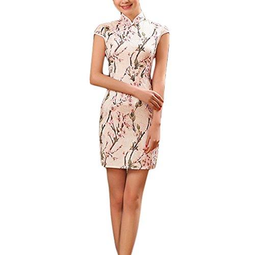 Eleganter Pfirsich-Blüten-Muster Cheongsam Qipao One Piece kurzes Kleid (Large)