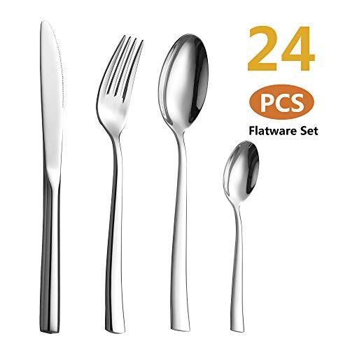 Velaze 24-teiliges Besteckset aus Besteck, Premium-Geschirr aus Edelstahl für 6 Personen, einschließlich Esslöffel, Essgabel, Essmesser und Teelöffel, spiegelpoliertes Design