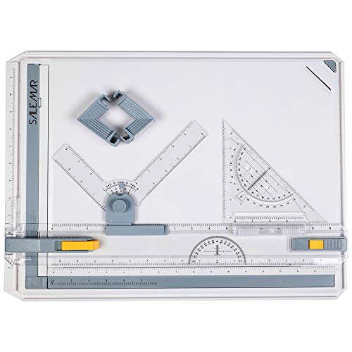 SALEMAR Inch Scale A3 Drafting Table Drawing Board, Drawing Tool Set Graphic Architectural Sketch Board with Parallel Motion, Set Square, Clamps, Protractor, Anti Slip Support Legs, Sliding Ruler