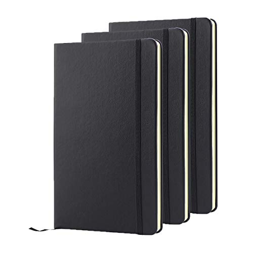 """ZZTX Classic Notebooks 8.5"""" x 5.3"""" Diary Faux Leather Ruled Pages Hardcover Writing Notebook with Pocket, Gift, Black, Lined 3 Pack"""