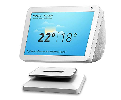 Adjustable Stand for Echo Show 8 (1st and 2nd Gen), Base Accessory Compatible with Amazon Alexa 8, Built-in Magnet, Swivel and Tilt, White