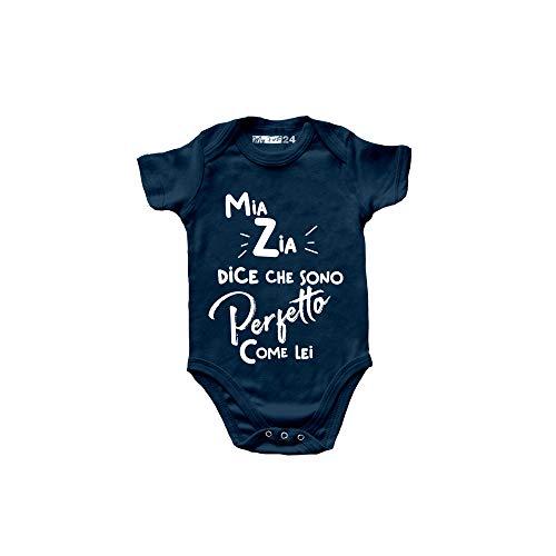 "My First 24 Zia - Body para bebé con manga corta, diseño de Zia con texto en inglés ""100% algodón, suave y transpirable, ideal como regalo para nacimientos, azul navy, 0- 6 meses"