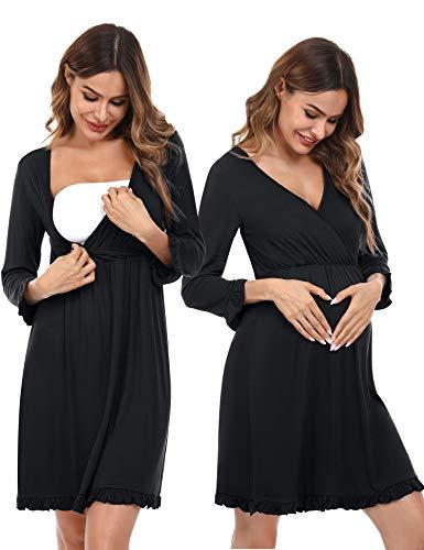 Doaraha Camisón Lactancia para Mujer Vestido Premamá con Volantes Pijama de Maternidad Camisones de Algodón de Manga 3/4 Ropa de Dormir con Cuello en V (Negro, S)