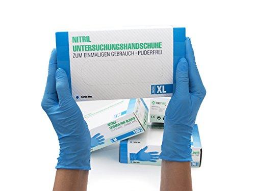 Nitrilhandschuhe 100 Stück Box (XL, Blau) Einweghandschuhe, Einmalhandschuhe, Untersuchungshandschuhe, Nitril Handschuhe, puderfrei, ohne Latex, unsteril, latexfrei, disposible gloves