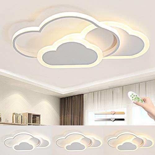 BLMYL 42W LED Deckenleuchte, Kreative Wolken Deckenlampe, Deckenlampen Mit Fernbedienung Dimmbarer, Moderne Weiße Deckenleuchten für Wohnzimmer Schlafzimmer Flur Und Kinderzimmer L52*W31cm*H6cm