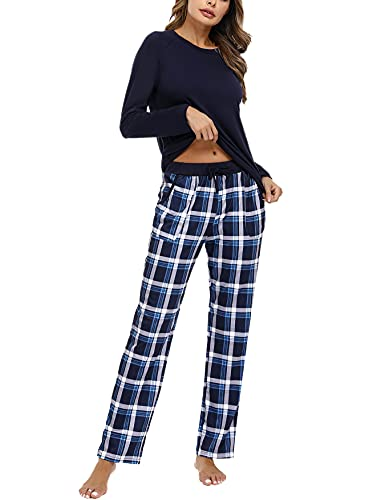 NA Pijama Mujer Largo, Conjuntos de Pijama Algodón Pijama Mujer Cuadros con Cuello Redondo Pijama Mujer 2 Piezas, Pijamas para Mujer T-Camisa y Pantalón a Cuadros Cómodo para Hogar Azul Marino XXL