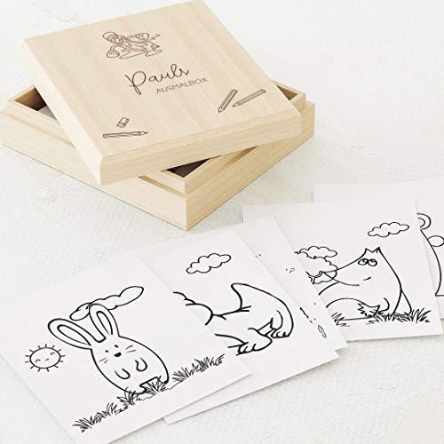 sendmoments Malvorlagen für Kinder, 60 Karten 88x105 mm, beidseitige Zeichnungen für Jungen, Bilder zum Ausmalen mit individuell gravierter Holzbox mit Namen 113x130 mm, tolles Geschenk zum Geburtstag