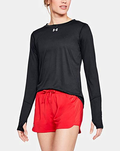Under Armour Camiseta de Manga Larga para Mujer con Cuello Redondo, Mujer, Sudadera de Cuello Redondo, 1305681, Negro (001)/Plata Metálica, L