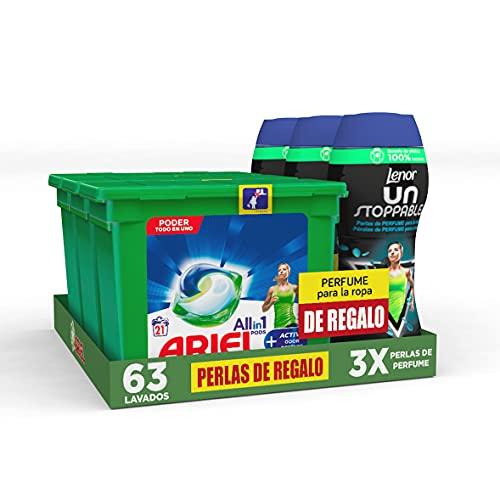 Ariel Detergente Lavadora Cápsulas, 63 Lavados (Pack 3 x 21), Active + Lenor Unstoppables Perlas de Perfume para la Ropa, 45 Lavados (Pack 3 x 15), Active de Regalo