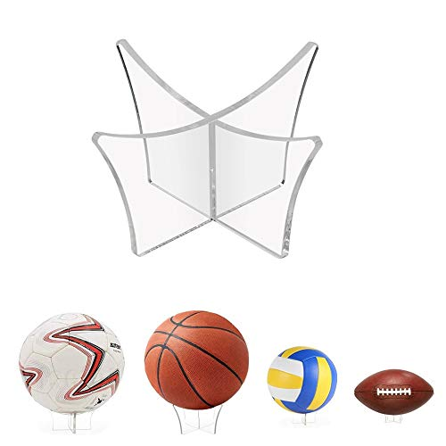 EMAGEREN Ball Ständer Display, 1 Stück Acryl Ballhalter Transparent Football Ständer Ausstellungsstand Ball Halter Ständer Ballhalterung für Fußball Fußball Basketball Volleyball Rugby Ball