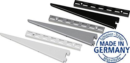 IB-Style - 2X Regalträger | 8 Abmessugen | 2-reihiges System mit 32 mm Raster | Länge 270 mm SCHWARZ | Wanndleiste aus Stahl für Regalsysteme