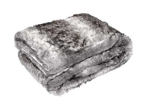 MESANA Wohndecke Decke Luna grau Polyester Microfaser-Fleece Tagesdecke Kuscheledcke Zudecke kuschelig weich Überwurf Sofadecke warm angenehm elegant