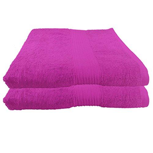 Julie Julsen 2er Pack Saunatücher vielen Farben Reine Baumwolle Qualität 500 GSM Strandtuch Pink 80 x 200 cm