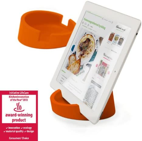 Kitchen Tablet Stand Cookbook stand for iPad/tablet PC, Orange.