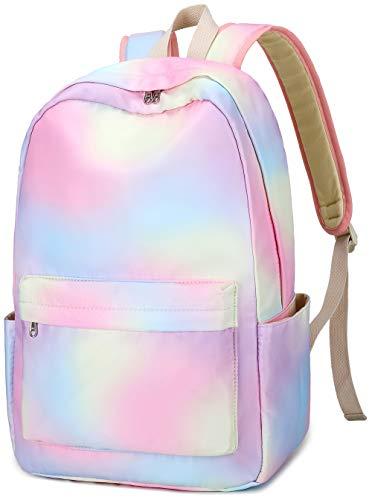 BLUBOON School Backpack Teens Girls School Bags Kids Bookbag with Laptop Sleeve (E0092-1 rainbow)
