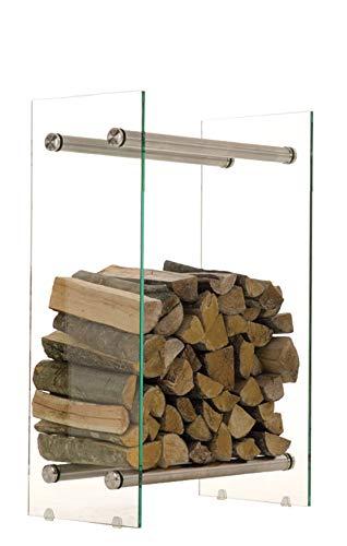 CLP Kaminholzregal/Kaminholzständer Dacio aus Klarglas I stabile Konstruktion I Holzlager I modernes Glasregal mit Bodenschonern, Farbe:Edelstahl, Größe:35x40x60 cm