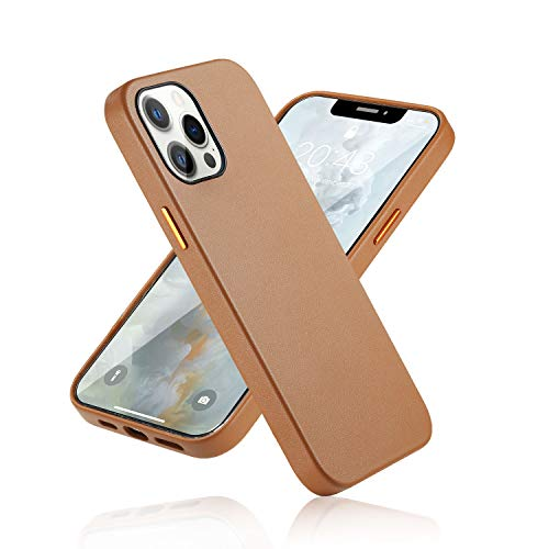 "CORTAILOR Leather Case Compatible with iPhone 12 Pro Max, Ultra Thin Slim Shockproof Anti-Scratch Protective Case Designed for iPhone 12 Pro Max, 6.7"" Brown"