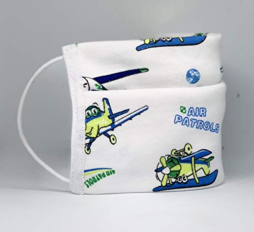 Mund und Nasenbedeckung für kleine Kinder (Jungen) waschbar mit Flugzeug Motiv 100% Baumwolle hergestellt in Deutschland mit Gummibändern