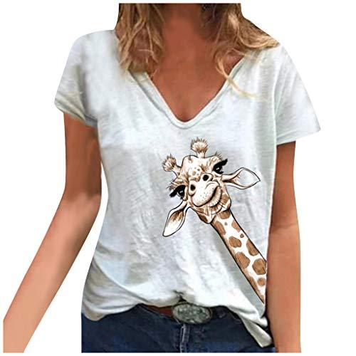MEITING Kurzarm Pullover Damen T-Shirt V-Ausschnitt Loose Große Größe Top Frauen Sweatshirt mit Giraffe Gedrucktes Hemd Mode Kurzarm Pullover Bluse Tops Tuniken Mädchen Teenager Shirt