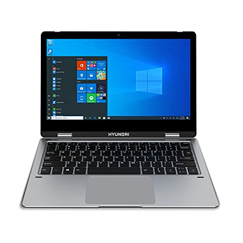 """Hyundai   HyFlip 11.6"""" Laptop   2-in-1 Touch Screen 1366 x 768 Display   4GB RAM   64GB eMMC   Expandable Storage with MicroSD Slot   Windows 10 Pro   Silver"""