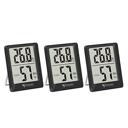 DOQAUS 3 Pezzi Termometro Ambiente Termoigrometro Interno, Mini Igrometro Termometro Case Digitale con Livello di Comfort, Monitor di Temperatura e umidità per Ufficio, Serra, Stanza del bambino(Nero)