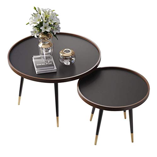 FSJD Conjunto de 2 mesas auxiliares en Madera/Mesa de café Redonda/para la Oficina en la Sala de Estar, encimera Redonda de MDF, Mesa de anidación Moderna de Mediados de Siglo