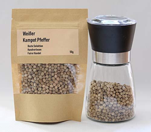 50g Echter Weißer Kampot Pfeffer - Direktbezug - Premium Qualität - Fairer Handel - White Kampot Pepper
