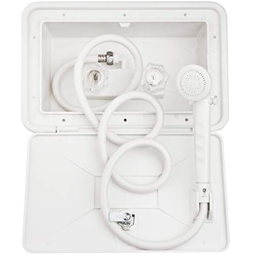 Dura Faucet DFSA170WT RV Exterior Shower Box Kit with Lock White