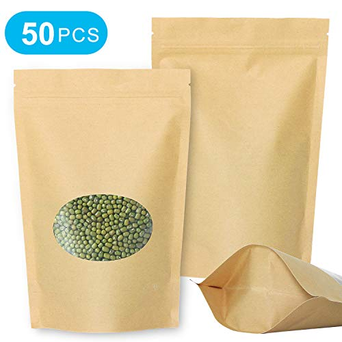 SumDirect 50 Stk Zip Kleine Papier Beutel Mit Fenster,PapierTüten Kraftpaiper mit Boden für Weihnachten Süßigkeiten Verpackung von Kaffee,Tee Lebensmittel und Snack (15 x 22cm)