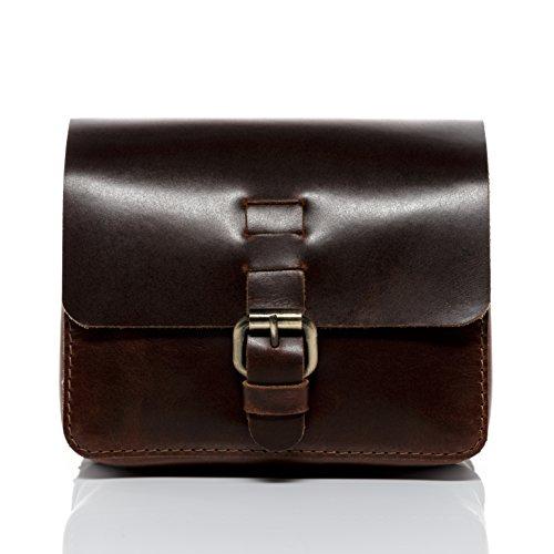 SID & VAIN® Riñonera Heathrow Bolso Cintura Bolso Tipo Crossbody Cruzado Piel marrón