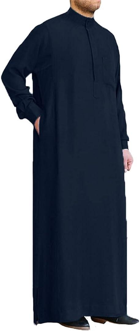 Men Muslim Islamic Kaftan Arab Vintage Long Sleeve Robe Loose Kaftan
